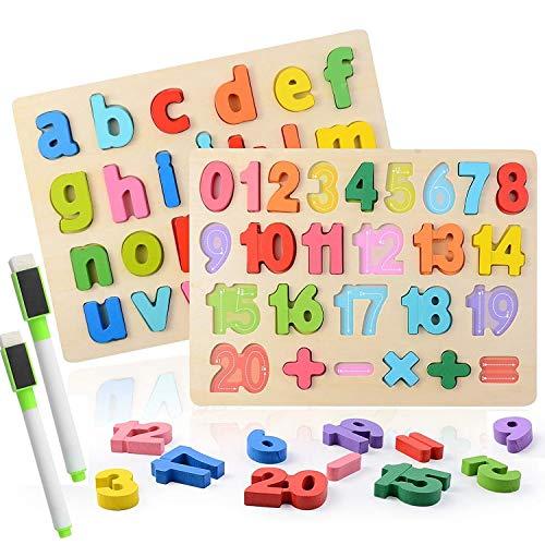 Colmanda Alphabet-Blöcke, Puzzle aus Holz Lernspielzeug aus Holz für Großbuchstaben und Zahlen Alphabet Lernen Geschenk für Kinder