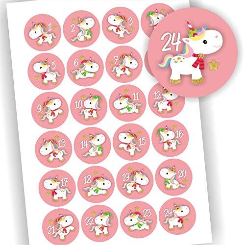 Play-Too 24 Aufkleber Adventskalender Zahlen Fest Weihnachten Einhorn Rosa Aufkleber Sticker
