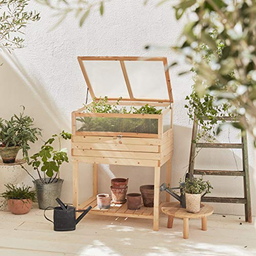 Alice's Garden Huerto de Madera con Patas e Invernadero de policarbonato Desmontable,...
