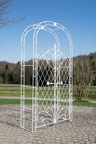 CLP Eisen Rosenbogen Melissa mit Tor/Tür, Doppeltor Höhe 150 cm, Maße gesamt: Breite 120 cm, Höhe 220 cm, Tiefe 40 cm, Farbe:antik weiß