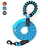MEKEET 6 FT Dog Rope Lead, Double Soft Padded Handle Dog Leash, Highly Reflective Dog Lead Threads for Puppy and Medium Large Dogs(Blue)