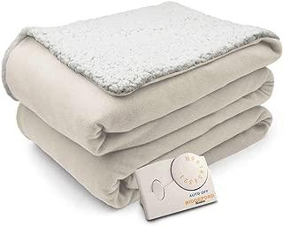 Biddeford Comfort Knit Natural Sherpa Electric Heated Blanket Twin Natural