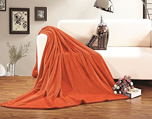 Elegant Comfort Ultra Super Soft Fleece Plush Luxury Blanket King/Cal King Orange
