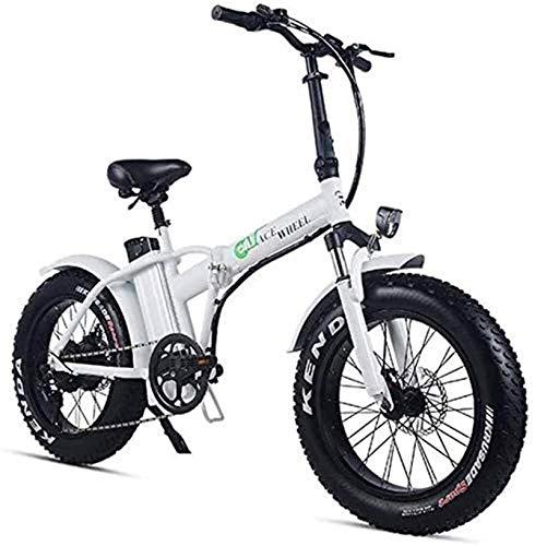 RDJM Bici electrica, Bicicletas rápidas y Eléctrica en Adultos Plegable Bicicleta eléctrica 500w 48v 15Ah 20' 4.0 Fat Tire Pantalla LCD e-Bicicleta con 5 Niveles de Velocidad (Color : White)