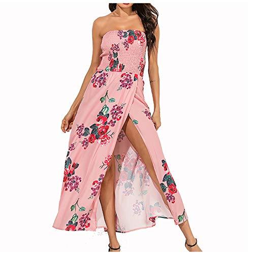 MEICHAO Damen Bandeau Bustier Kleider mit Blüte Drucken Lange Trägerlos Sommerkleid Boho Abendkleid Partykleid Cocktailkleid mit Schlitz