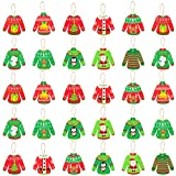 Haooryx 31pcs Christmas UglySweater Hanging Wood Ornaments, UglySweater Wooden Craft Cutouts Christmas Tree Decoration Pendant Tag with Ropes for Winter Holiday Xmas Party Decor Favor Supplies