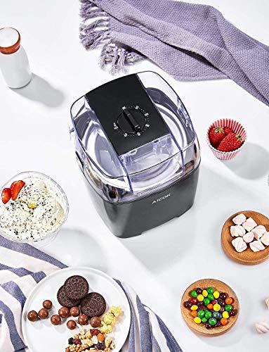 Aicok 1.5 Litro Maquina de Helados con Temporizador para Hacer Helado,Sorbete y Yogur Congela en 15-30 Minutos,Máquina de Bajo Consumo 250W, Sin BPA, Recetas Incluido, Negro