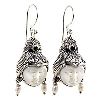 NOVICA Carved Dangle Earrings with Cultured Freshwater Pearls and Peridot Day Dreamers