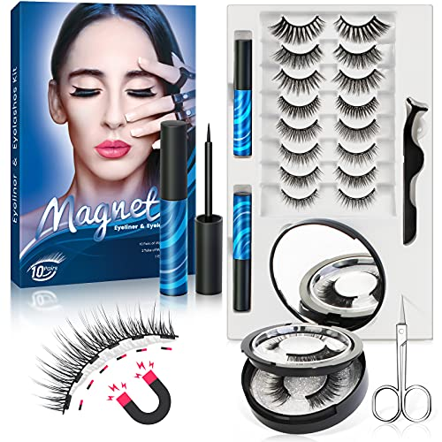6 Magnets Magnetic Lashes with Eyeliner, 10 Pairs Magnetic Eyelash Kit with Applicator and Mirror Case,2 Tubes Waterproof Magnetic Eyeliner,Reusable False Lashes Natural Look,3D 6D Fake Eyelashes
