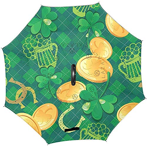Grünes Bier Goldmünzen Hufeisen-Umkehrschirm St. Patrick's Day Clovers Shamrocks Umkehrschirme Anti-UV Straight Umbrella