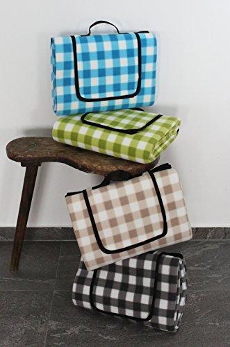 Outdoor Picknickdecke KARO für die ganze Familie 130x150 cm - Wärmeisoliert & Wasserdicht mit Tragegriff. Campingdecke Stranddecke Reisedecke Outdoordecke für Jeden Untergrund (Türkis / Weiß)