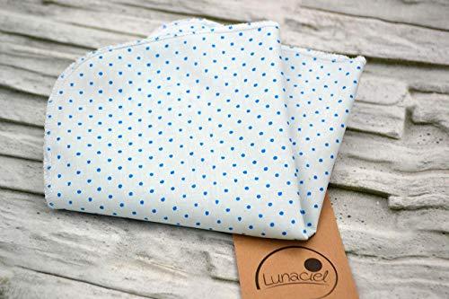 Taschentuch aus Bio-Baumwolle, 3 Stück, Stofftaschentuch, wiederverwendbares Tuch, Mehrweg, waschbar, Damen, Herren, Ersatz Papiertücher, Punkte blau hellblau