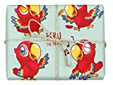 Peru The Parrot - Design Gift Wrapping Paper | For Baby Showers, Kids Birthdays, Christmas Gifts | Unique Unisex Print | Wrap A Birthday Parcel & Present | 5 Sheets | 20 x 28 Inches