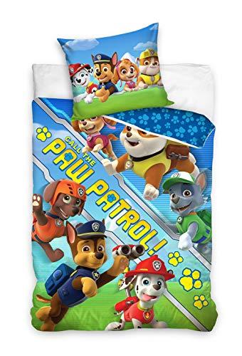 Paw Patrol Funda nórdica con funda de almohada reversible de 160 x 200 cm y 70 x 80 cm, algodón.