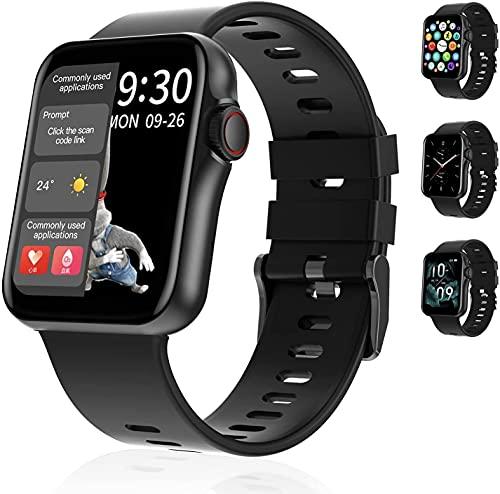 Segorts Reloj de pulsera inteligente de 1,6 pulgadas, pantalla táctil a color reloj de fitness con pulsómetro, monitor de presión arterial, resistente al agua para iOS y Android