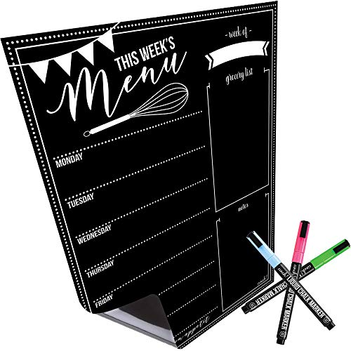 Magnetic Dry Erase Menu Board for Fridge: with Bright Neon Chalk Markers - 16x12' - Weekly Meal Planner Blackboard and Grocery List Notepad for Kitchen Refrigerator - Whiteboard Chalkboard Magnet