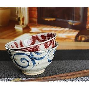 信楽焼 夫婦茶碗 飯椀【水面唐草(青・赤)セット茶碗w909-07_909-08 】夫婦 めおと ペア カップル しがらき焼 陶器 焼き物 食器 めし椀 お茶碗 ご飯茶碗 オシャレ おしゃれ ギフト プレゼント 贈り物