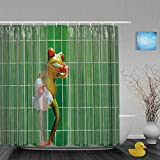 ShopHM Duschvorhang,Karikaturfrosch Lustiger Badefrosch, der Zähne niedlich niedliches Tier für Kinder bürstet,Stoff Badezimmer Dekor Set mit Kunststoffhaken, enthalten - 180x200cm