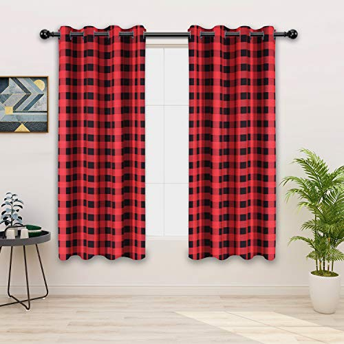 FLOWEROOM Buffalo Plaid/Check Curtains, Red-White, 52 x 63 Inch Long – Sun Light Blocking, Thermal Blackout Curtains for Bedroom and Living Room, Grommet Window Curtain Panel, Set of 2