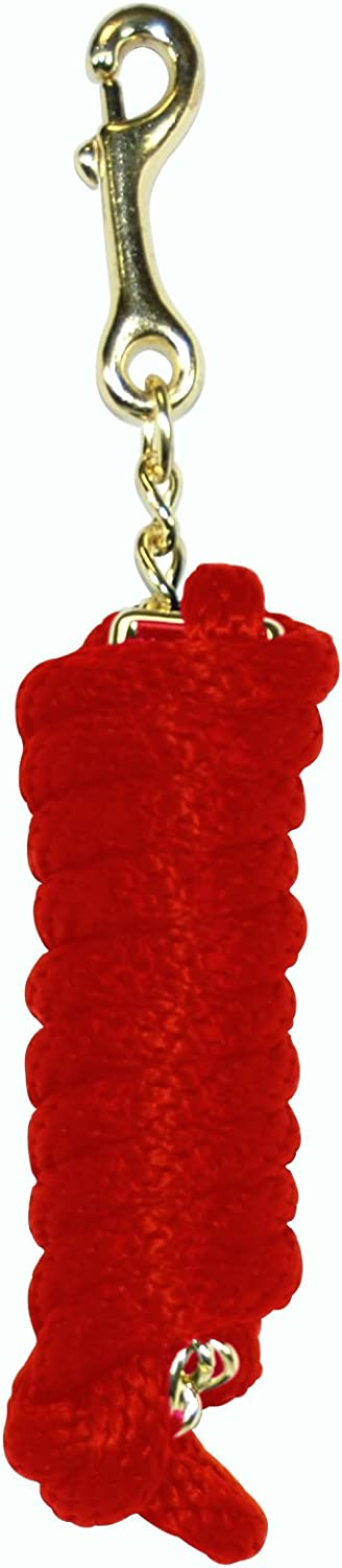 Hamilton PL58 24RD Extra Heavy Poly Rope Lead with 24Inch Chain, Red, 5 8Inch Thick x 8Feet Long