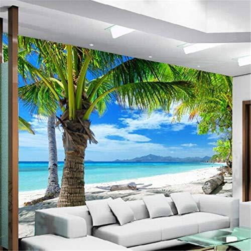 Behang strand, coconut, grove muurafbeelding, fotobehang, woonkamer, slaapkamer, wooncultuur, 3D-behang, landschap, papel, de Parede Para Quarto 3D 120 x 100 cm.