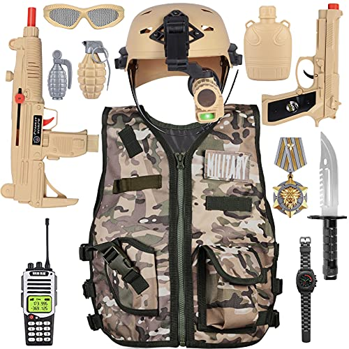 Kids Army Military Combat Soldier Costume Halloween Party Role Play Dress up Birthday Gift Set includes Camouflage Vest, Helmet, and Toy Accessories for 3-8 Years Old Toddlers Boys Girls