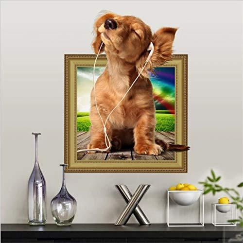 Lindo perro vivo pegatina de pared arte mural decoración del hogar pegatinas de pared para habitaciones de niños