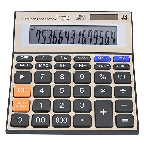 Calcolatrice, calcolatrice elettronica da tavolo, doppia batteria solare con calcolatori da ufficio con display LCD di grandi dimensioni, 14 cifre