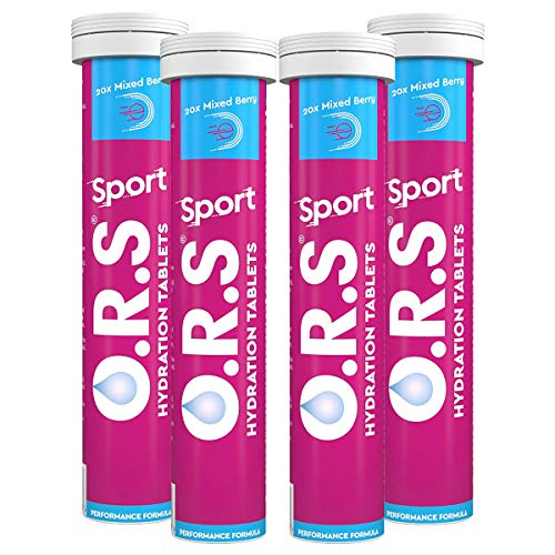 ORS Hydration Tablets with Electrolytes Vegan Gluten and Lactose Free Formula Natural Mixed Berry Flavour 80 Tablets Pack of 4