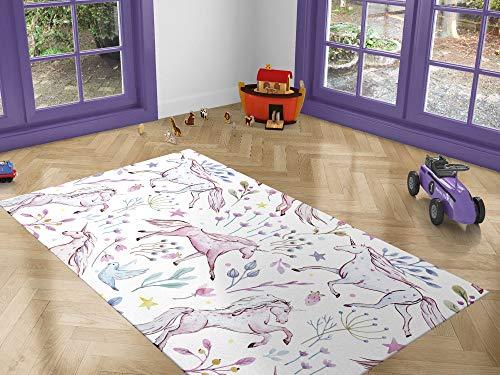 Oedim Alfombra Infantil Unicornios para Habitaciones PVC | 95 x 200 cm | Moqueta PVC | Suelo vinílico | Decoración del Hogar | Suelo Sintasol | Suelo de Protección |