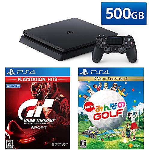 PlayStation 4 + グランツーリスモSPORT + New みんなのGOLF セット (ジェット・ブラック) (CUH-2200AB01)...