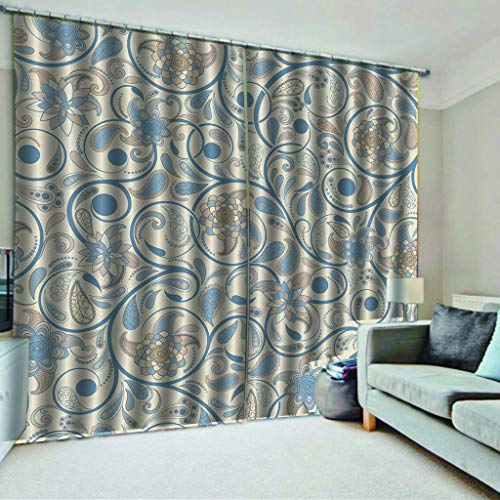 TJLL Curtain Classical Gray Pattern Curtain Printing, Elegant Color Printing Curtains for Home Life, Fashionable Curtain Panels (55x63 inch,Perforated Curtain)