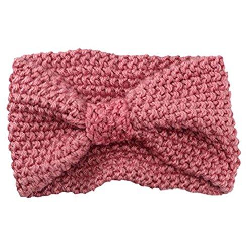 HAINES Damen Gestrickt Stirnband Häkelarbeit Schleife Design Winter Kopfband Haarband Rosa
