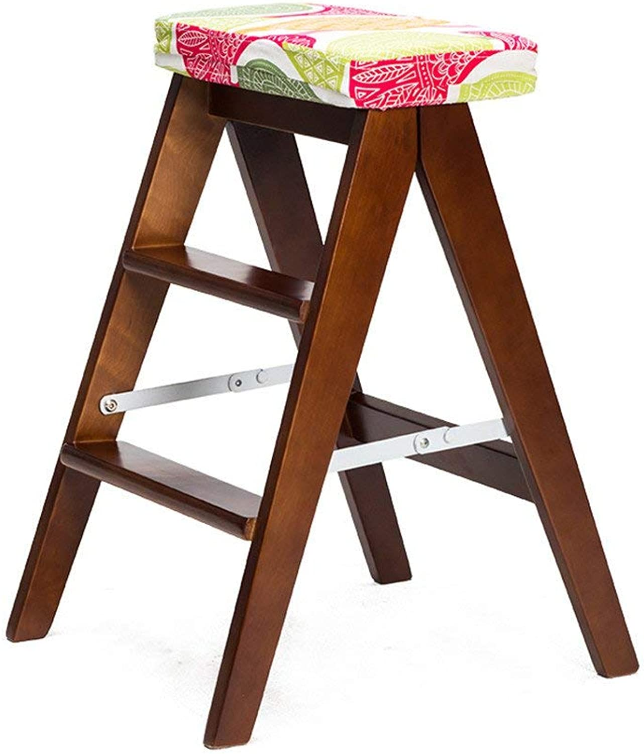 STEP STOOLS HOME 4 Steps Solid Wood Stairs Chair Folding Ladder Home Climb Up Wooden Utility Step Ladder Stool Multifunction Creative Dual Use FlowerRack (color   Brown, Size   1 )