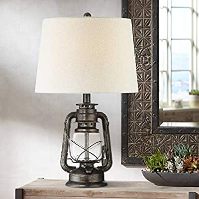 Murphy Rustic Industrial Accent Table Lamp Miner Lantern Weathered Bronze Clear Glass Oatmeal Fabric Drum Shade for Living Room Bedroom Bedside Nightstand Office Family - Franklin Iron Works