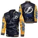 JesUsAvila Imitación cuero del bombardero chaqueta rompevientos Tampa-Bay-Lightning Racing tapa de la chaqueta de la locomotora de moda chaqueta de cuero de los hombres de Chaqueta/D /