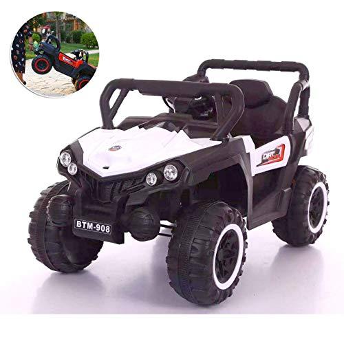MMYYIP 4WD elektrische auto-veiligheidsgordel voor kinderen, 12 V, rempedaal, met afstandsbediening, blauw en rood en wit, geschikt voor kinderen van 2-8 jaar