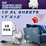 """Double Sided Deterrent Training Tape for Cat, 10 XL Sheets of Size 17"""" x 12"""" -Translucent Anti-Scratch Tape,Residue Free, Protector All Furniture/Couch/Sofa/Door/Wall/Mattress/Car Seat."""