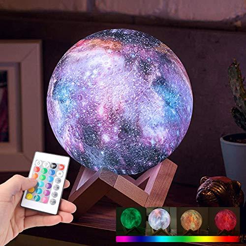 3D Mond Lampe 15 cm Dimmbar 16 Farben Mond Nachtlicht Berührungssteuerung mit Fernbedienung und Holzhalterung für Zimmer Dekor Geschenk