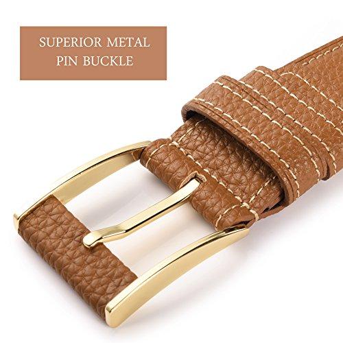 Vbiger Vintage Men's Belt 1 1/2″ (38mm) Wide Genuine Leather Smooth Bridle Waist Strap (Khaki)
