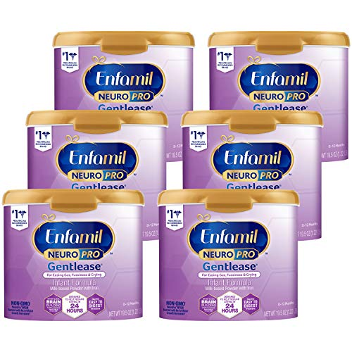 Enfamil NeuroPro Gentlease Baby Formula Gentle Milk Powder Reusable Tub, 20 oz.- MFGM, Omega 3 DHA, Probiotics, Iron & Immune Support, Pack of 6 (Package May Vary)