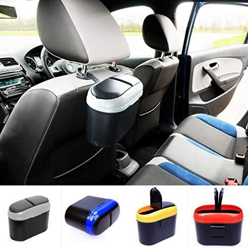 Tiowea Dual Side deksel auto voertuig kunststof vuilnisemmer vuilnisbak opbergdoos kofferbaktassen Gelb blauw