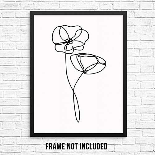 Abstract Poppy Flowers Wall Art Print Poster - UNFRAMED - Modern Minimalist Trendy Artwork for Living Room, Women