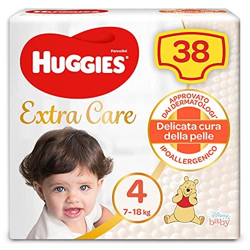 Huggies Huggies Extra Care, talla 4 (7-18 kg), paquete de 38 pañales – 1250