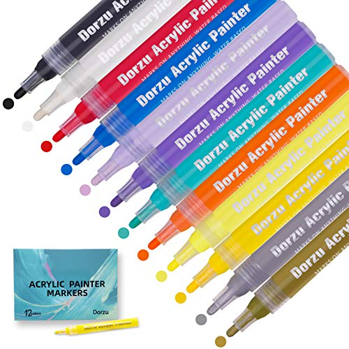Acrylic Paint Pens, 12 Colors Paint Markers, Used for Rock Painting, Canvas, Photo Album, Home Decoration, School Project, Glass, Ceramic, Wood, etc.