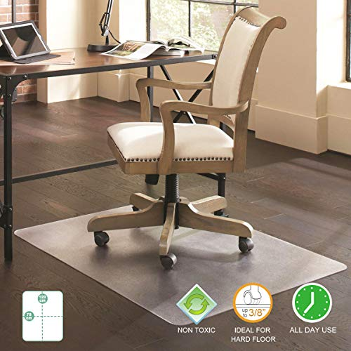 FRUITEAM Rectangle Office Chair Mat - 30' x 48' for Hard Floors, Transparent Hard Floor Protector with Non-Studded Bottom, BPA and Phthalate Free