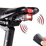 JZFUKSP Feu arrière vélo 4 en 1 avec télécommande - Alarme Anti-vol sans Fil pour avertisseur sonore Cloche USB Rechargeable Étanche pour Accessoires de Montagne