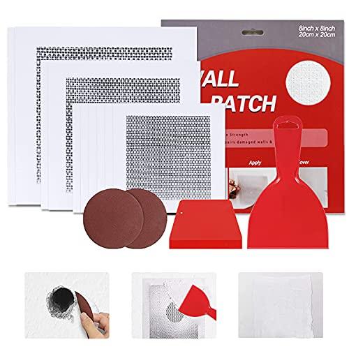 WDSHCR Drywall Repair Kit, 4/6/8 Inch Fiberglass Mesh Wall Screen Repair Patches Plates, Small Large Hole Repair Kit, Putty Knife, and Sanding Pad