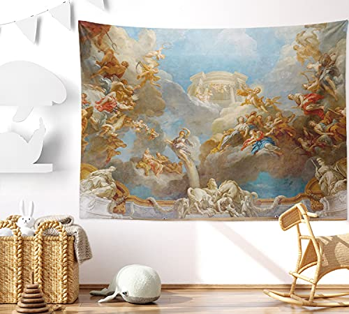 Tapestry Hanging Wall Home Decor Royal Chateau Versailles Tapestries Greek Mythology Classic Art Painting Tapestry for Living Room Bedroom Dorm (51.2 x 59.1 inches)