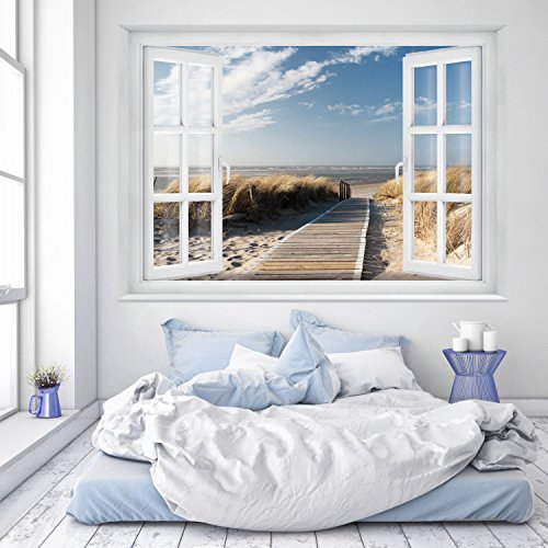 murimage Photo Wallpaper Beach Window 183 x 127 cm Including Paste Wall Mural 3D sea way dunes beach catwalk sand bay travel